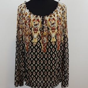 INC international concept BOHO blouse top size L